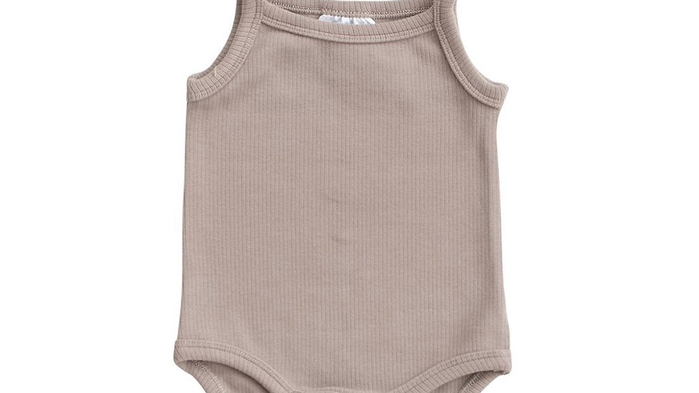 Ribbed cotton bodysuit - TAUPE