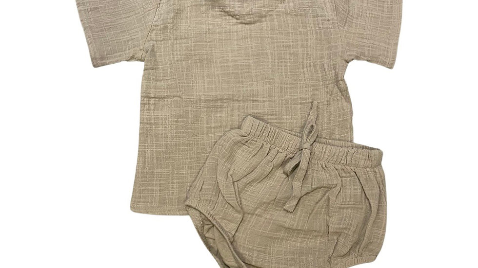 Apenalda - Khaki linen bloomer set