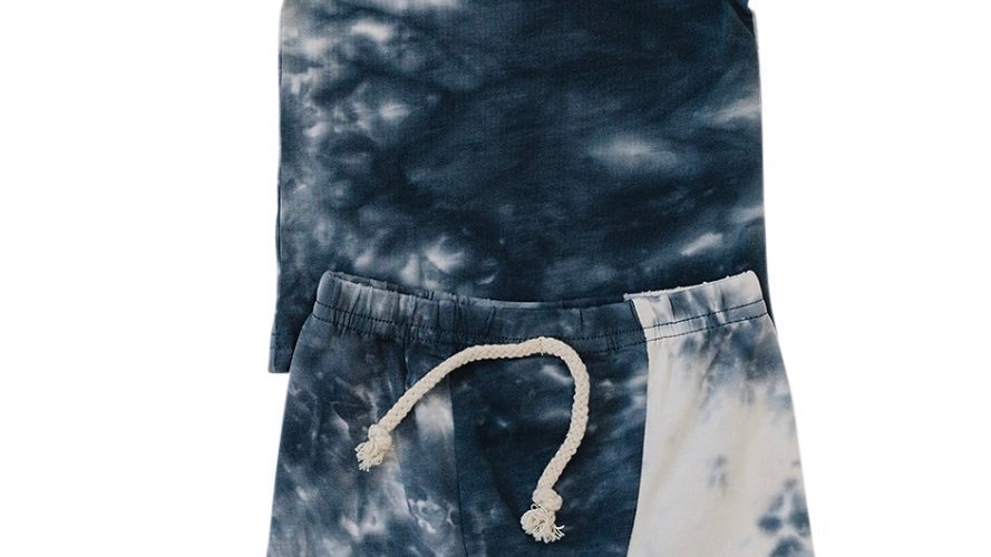 Mebie - blue/grey tie-dye summer short 2pc set