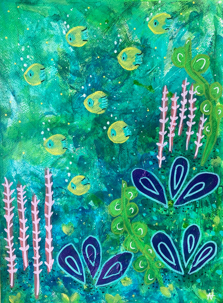 Under Water Magic - Mixed Media on Paper