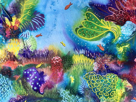 Coral Reefs in Coloured Inks!