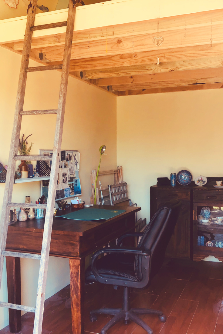 studio loft, art studio, work desk, loft ladder, loft space