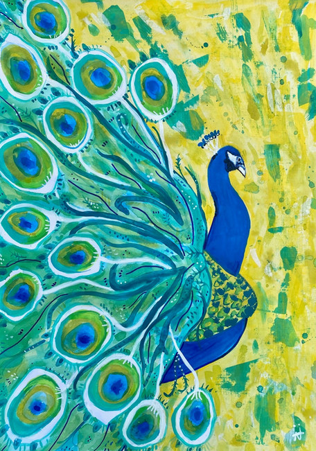 Magnificent Peacock - Mixed Media on Paper