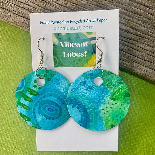 Paper Earrings, Hand Painted Turquoise