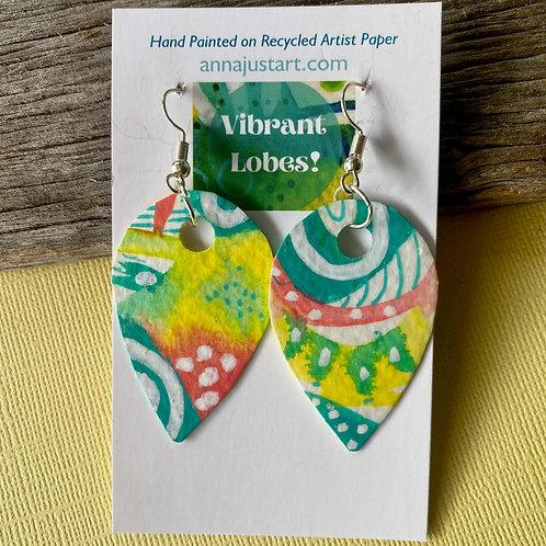 Paper Earrings, Hand Painted Pastel