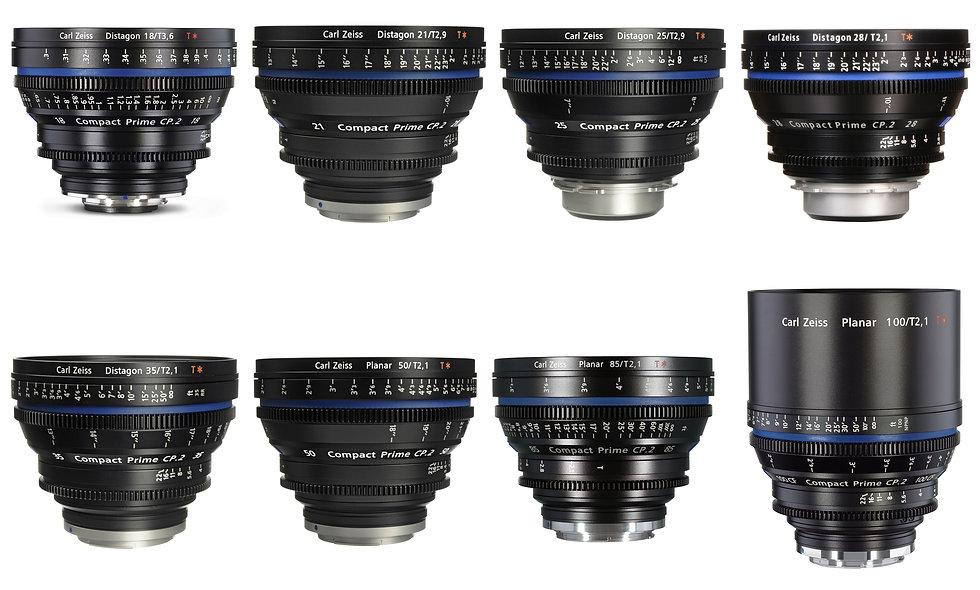 Zeiss Compact Prime CP.2 8 Lens Set (18,21,25,28,35,50,85,100mm) - PL Mount