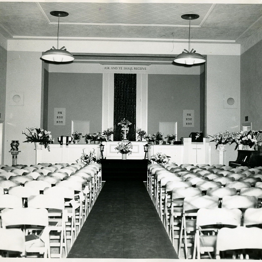 Fellowship Hall being used as the Sanctuary.