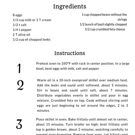 Week 8: Veggie Frittata