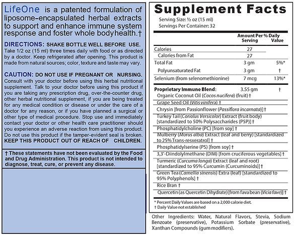LifeOne Formula Ingredients and Supplement facts