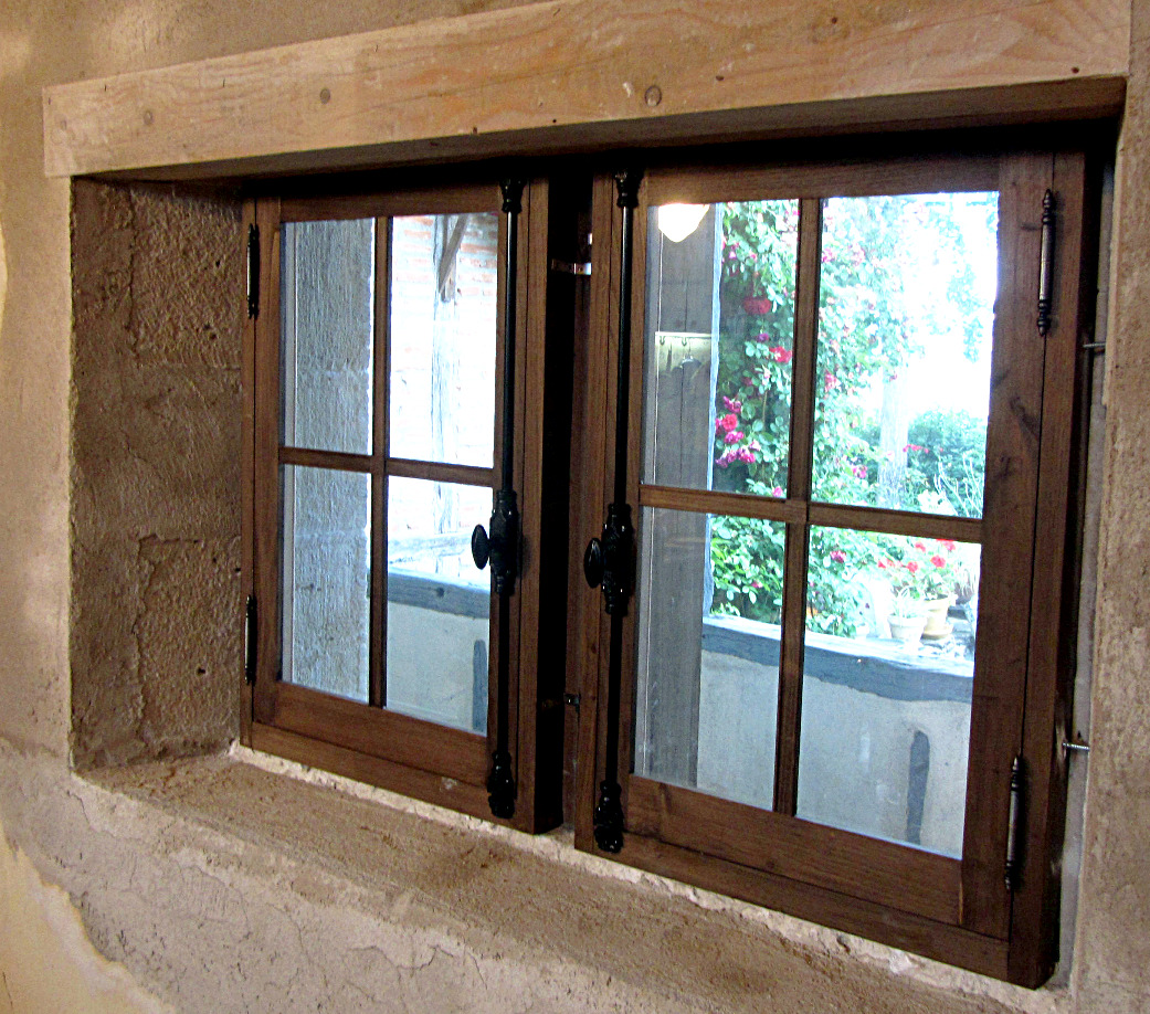 Old style chesnut wood window