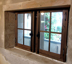 Old style chesnut wood window