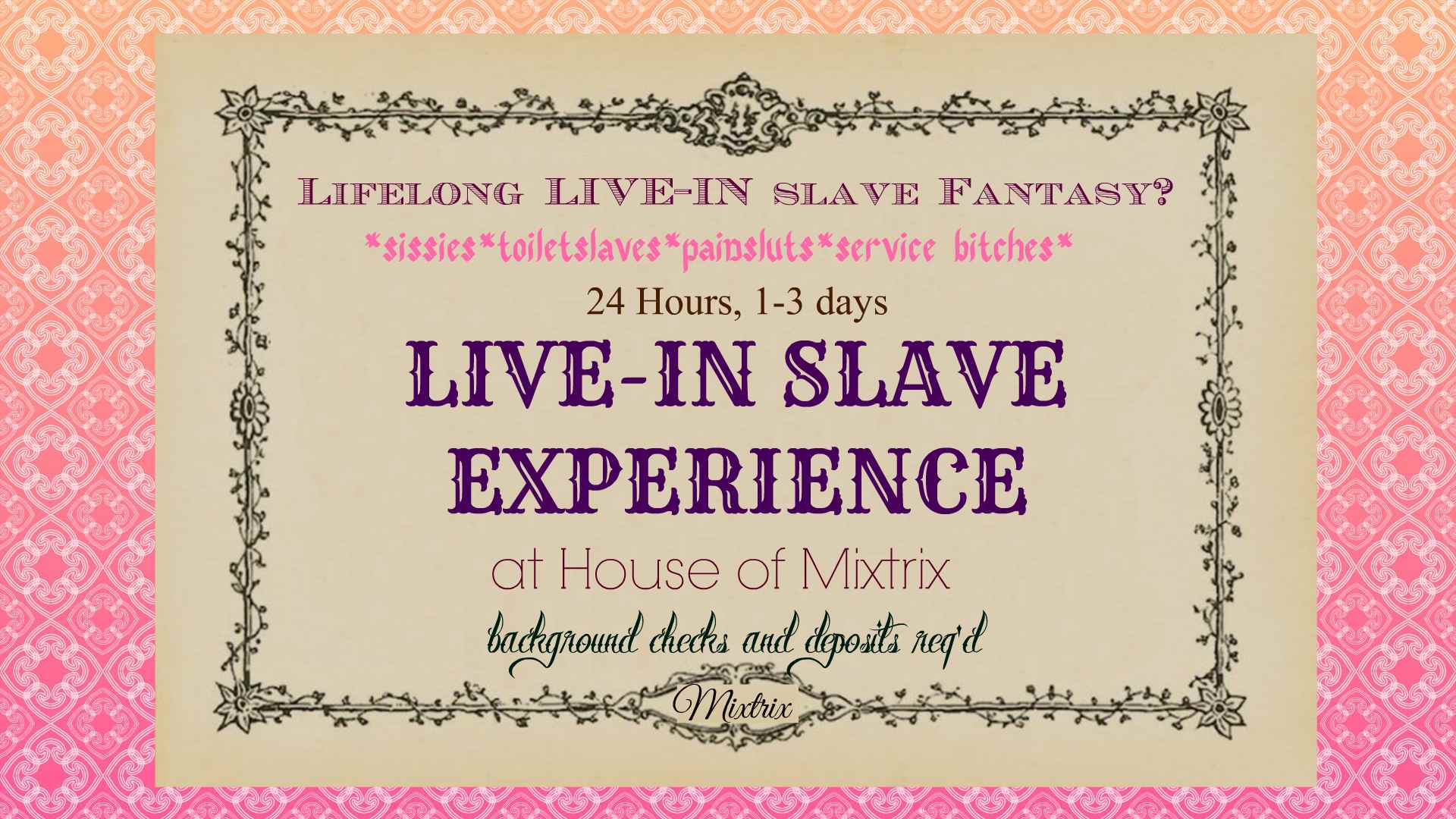 Live In Slave Experience