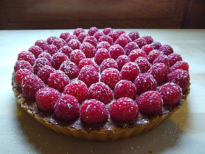 Chocolate mousse and fresh raspberry tart.