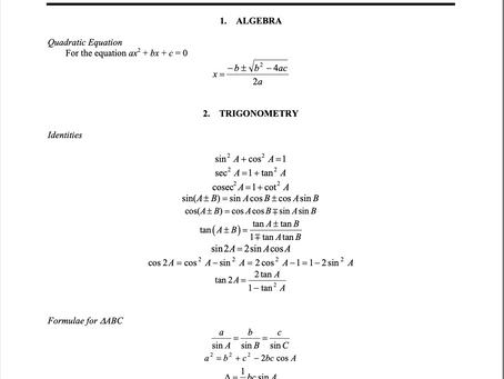 2021 N Level A Math Formula Sheet and Syllabus Objectives