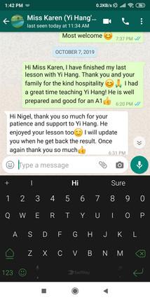 Tuition Testimonial- Miss Karen Yi Hang