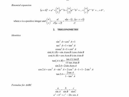 2021 O Level A Math Formula Sheet and Syllabus Objectives