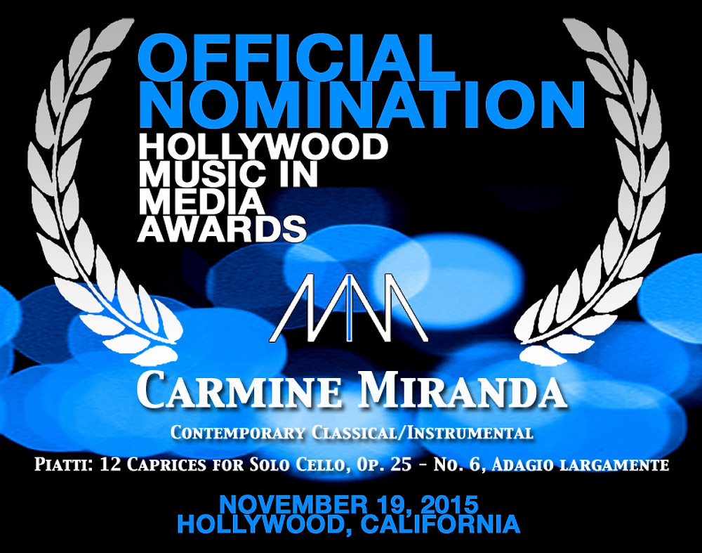 CARMINE MIRANDA NOMINATED FOR 2015 HOLLYWOOD MUSIC IN MEDIA AWARDS