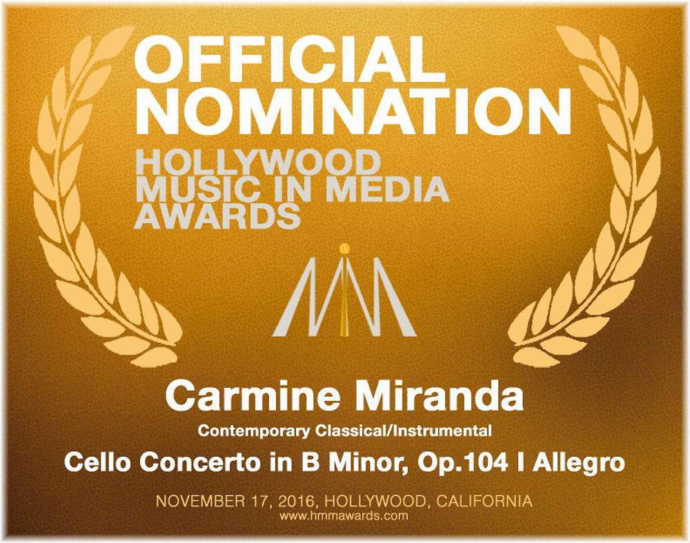 2016 HOLLYWOOD MUSIC IN MEDIA AWARDS NOMINATION: SCHUMANN | DVOŘÁK: CONCERTI FOR CELLO & ORCHESTRA