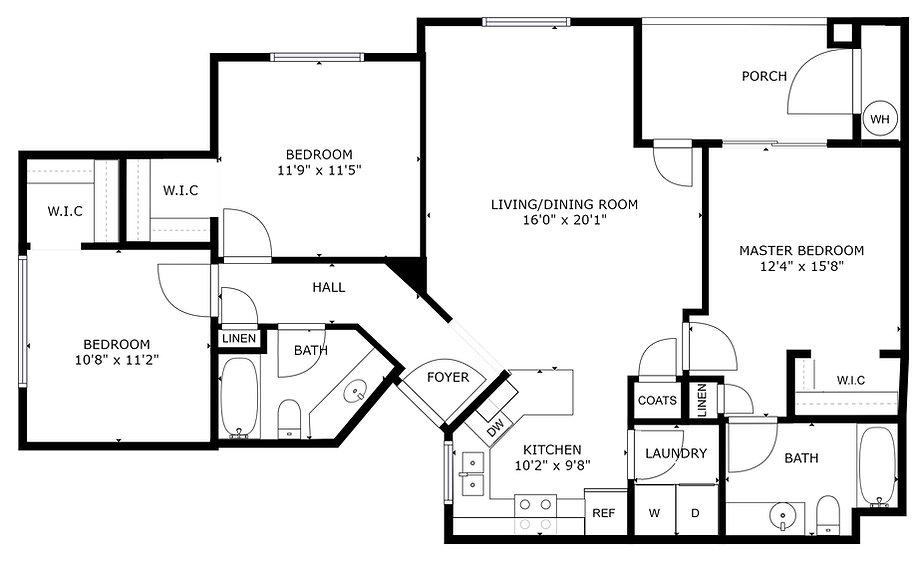 Eagle - 3 bedroom & 2 bath - 1170 sq ft