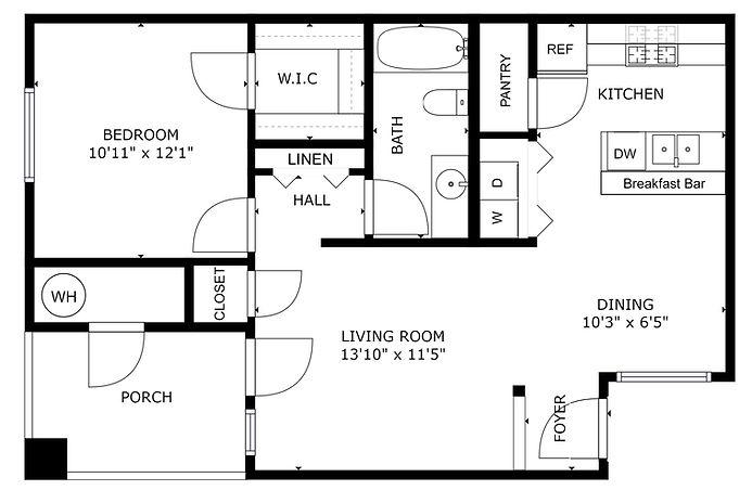 Falcon - 1 bedroom & 1 bath - 702 sq ft