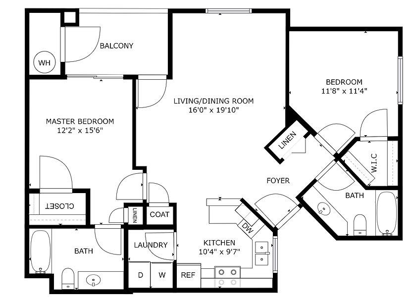 Gray Hawk - 2 bedroom & 2 bath - 987 sq ft