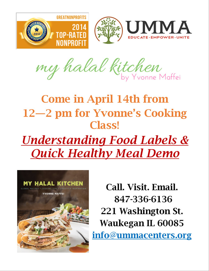 April 14th Cooking Class