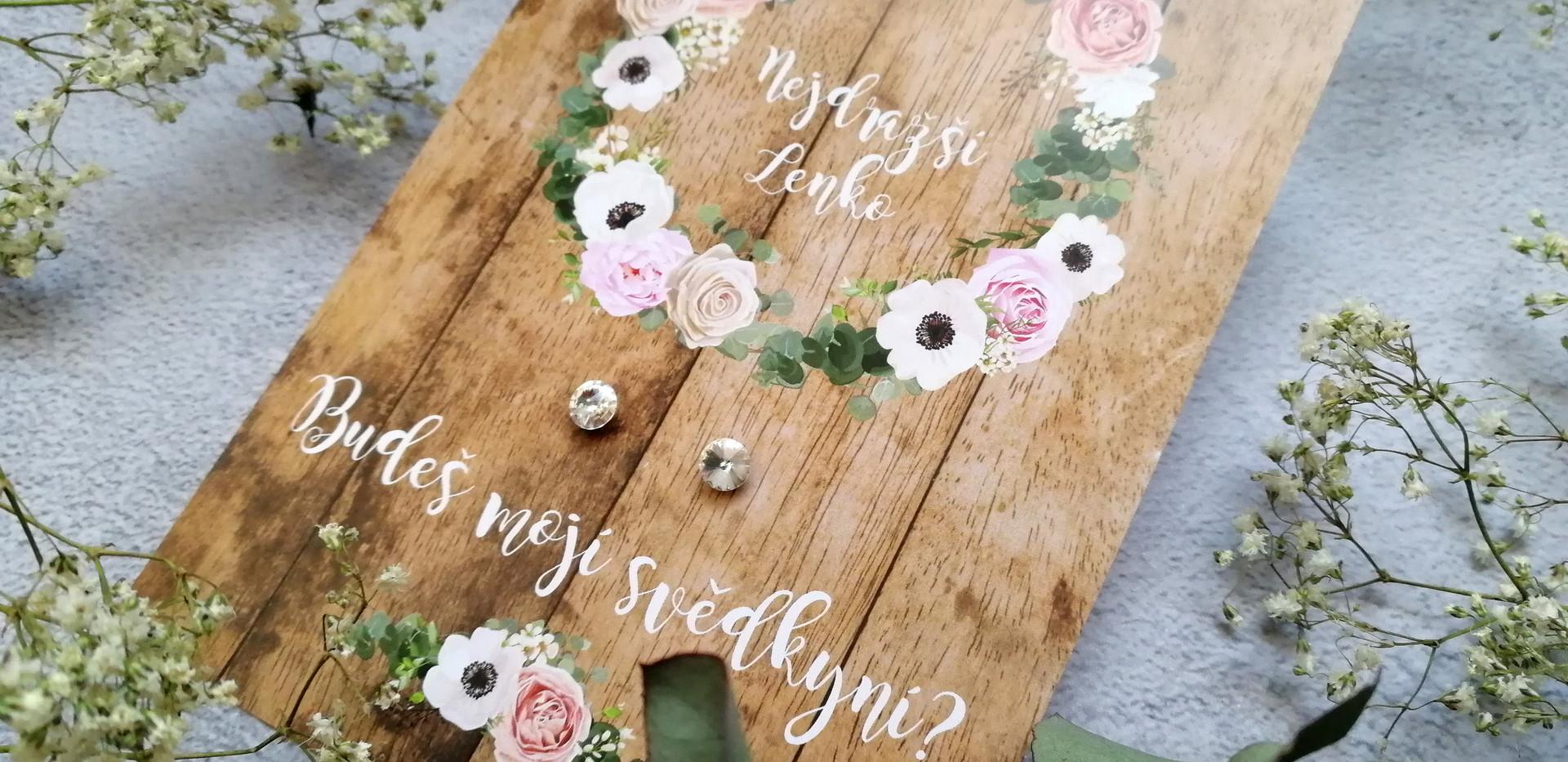 Svatební karta s náušnicemi
