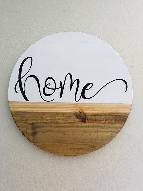 "17"" Wood Round- HOME"