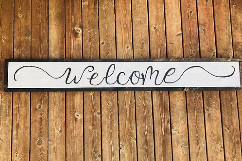 "7"" x 50"" Wood Framed ""Welcome"""