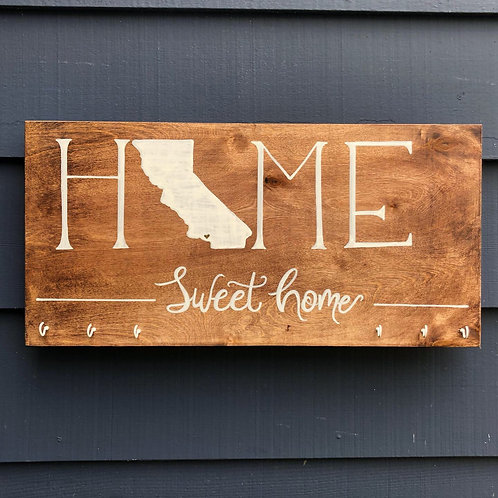 """Solid Wood HOME sign with hooks- 14"""" x 26"""""""