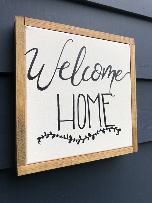 "12"" x 12"" Wood Framed Sign- Welcome Home"