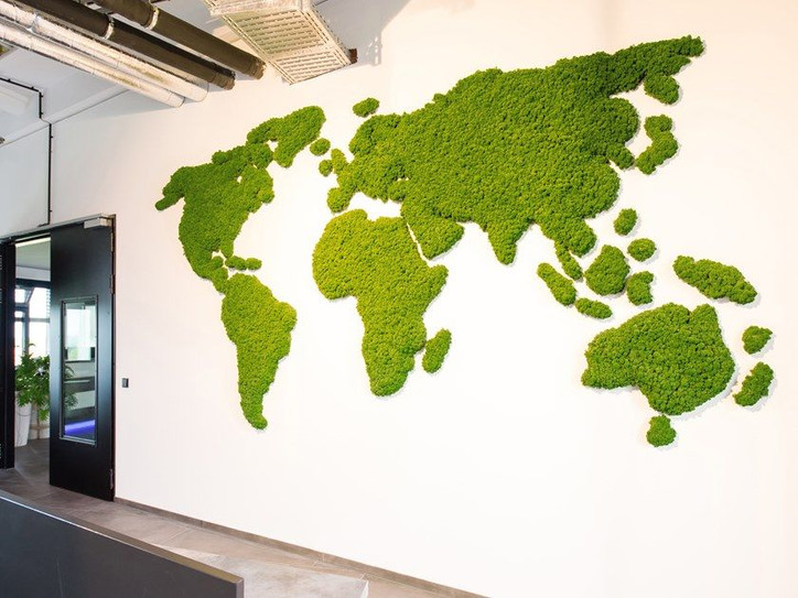 Moss wall logo lobby Preserved Plants US