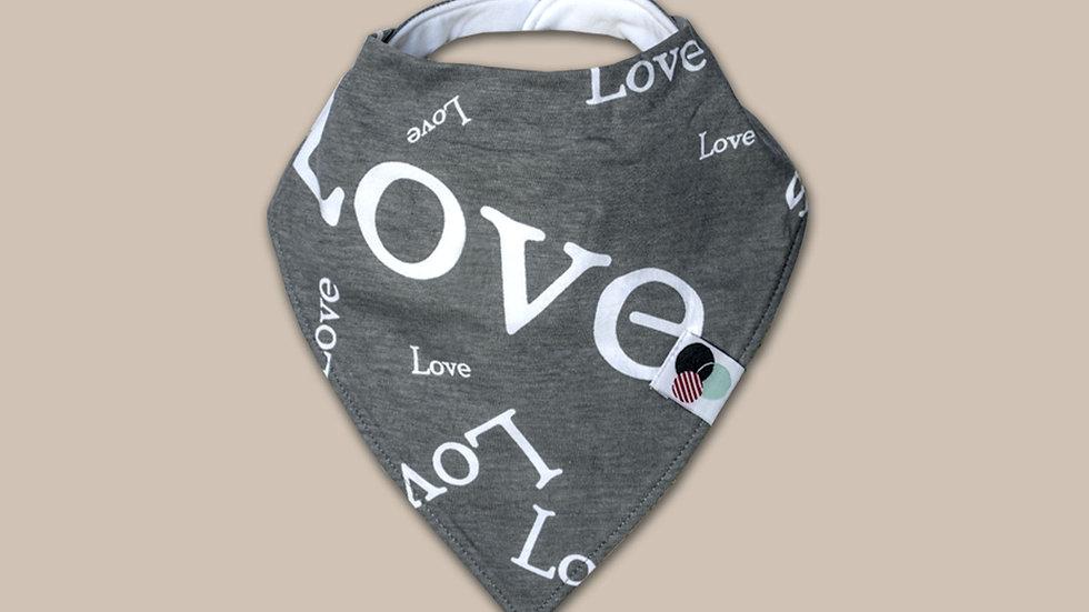 LOVE TEXT   Premium Plus Baby Bandana Bib (organic cotton)
