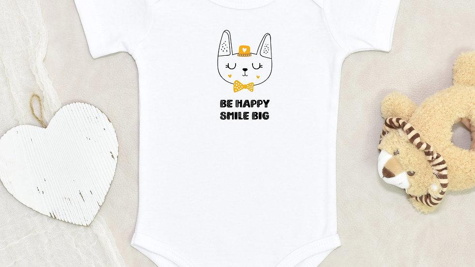 Be Happy Smile Big Short Sleeve Organic Baby Bodysuit