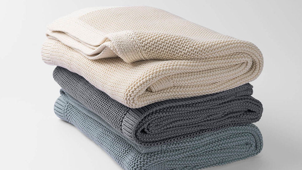 100% Organic Cotton Solid Knit Throw Blanket