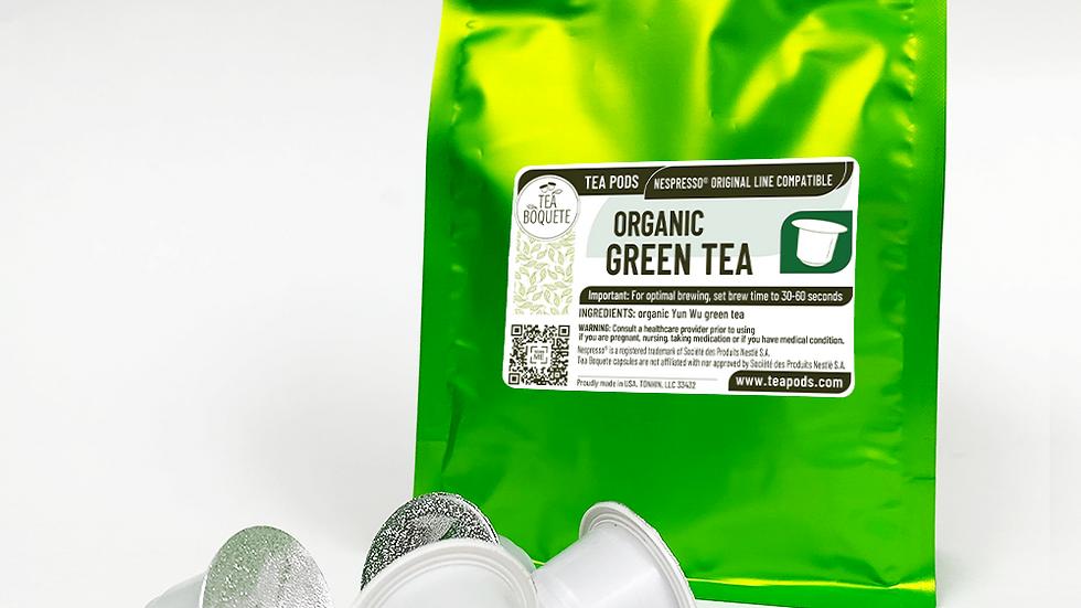 Organic Green Tea Pods for Nespresso Brewers OriginalLine Compatible Capsules