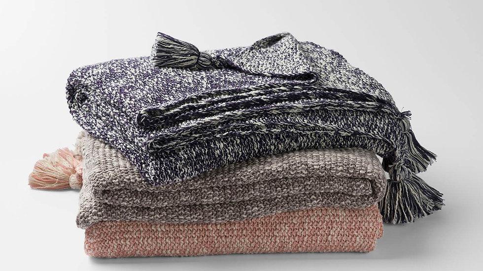 100% Organic Cotton Moss Knit Throw Blanket