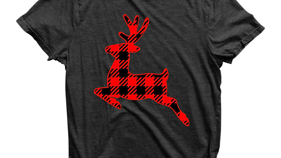 Eco Friendly Recycled Christmas Reindeer Plaid Unisex T-Shirt