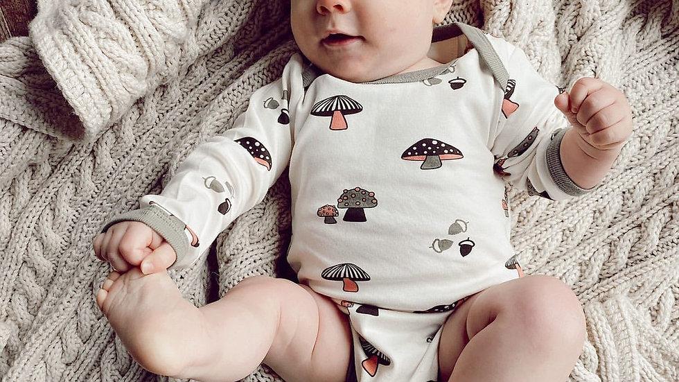 Mushroom Forest: Organic Baby Onesie Bodysuit-Mushroom Print