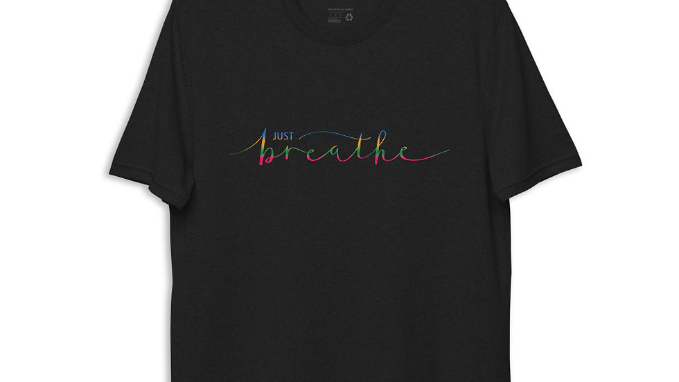 Eco Friendly Recycled T-Shirt Just Breathe Pride Top