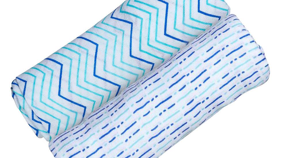 ORGANIC SWADDLE SET - SHADES OF BLUE