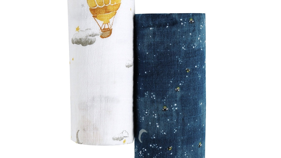 ORGANIC SWADDLE SET - FLY ME TO THE MOON