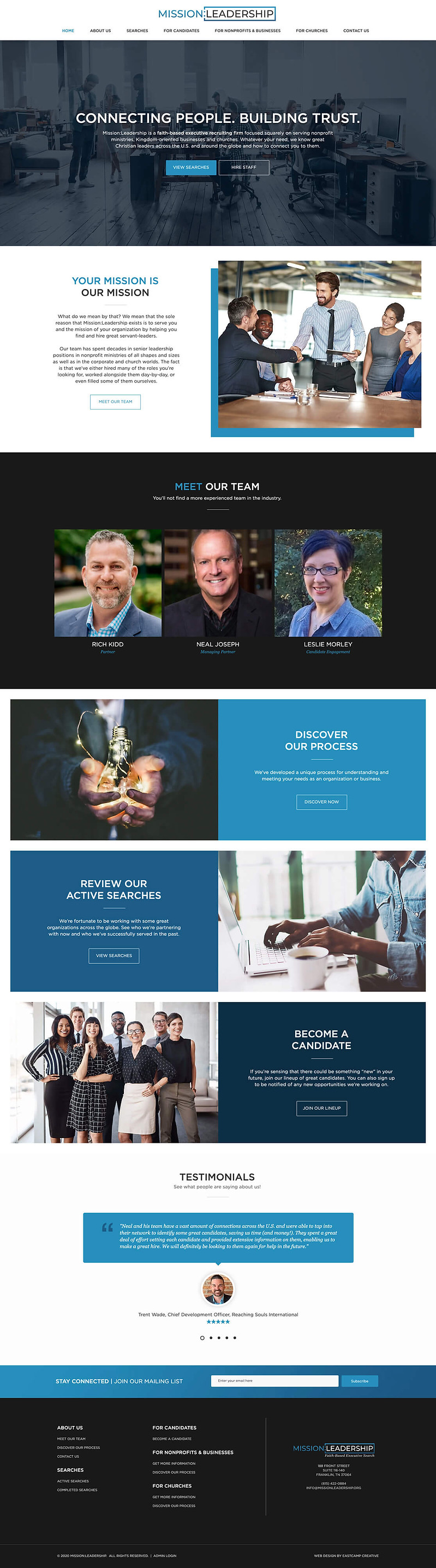 nonprofit recruiter website design, church staffing website design