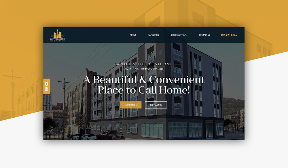 New construction company website design in Pittsburgh, Capitol Suites at 5th