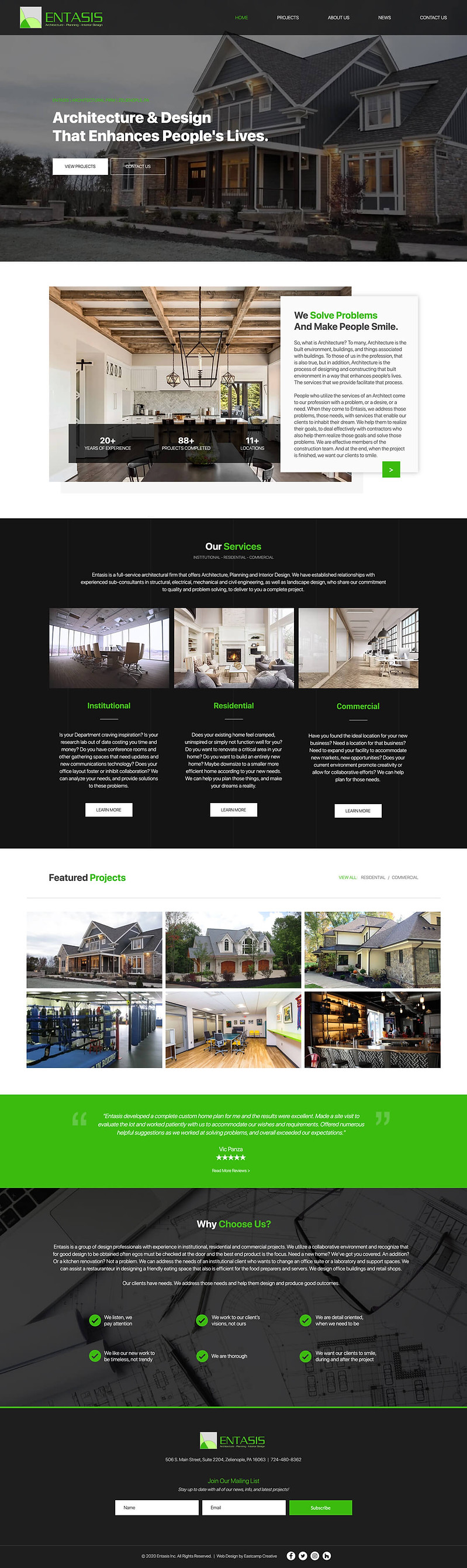 entasis architecture website design and development
