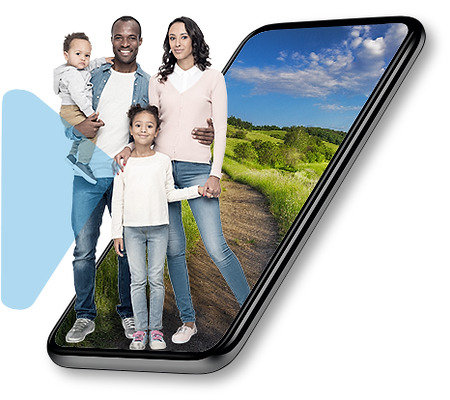 A family of 4 members (a dad, a mum, a 6 years old girl and a toddler boy) enjoying their scheme membership while coming out of a black smart mobile phone
