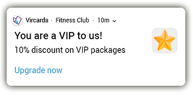 An android push notification with a button that allows members of a fitness club to upgrade their membership