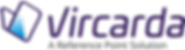 Vircarda logo with its wallet V shape icon and its watermark in drak purple colour. Stating with a strapline that it's is a Reference Point Solution