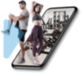 A couple ( a man and a woman in their mid-thirties)  streatching in a gym exercise room as they use their virtual scheme membership card