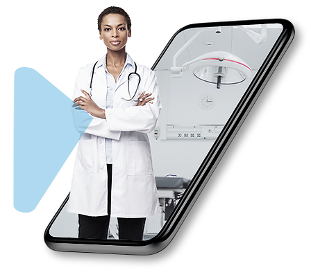 A confident female doctor happy using Vircarda and her virtual smart card to keep her competancies and qualifications up-to-date